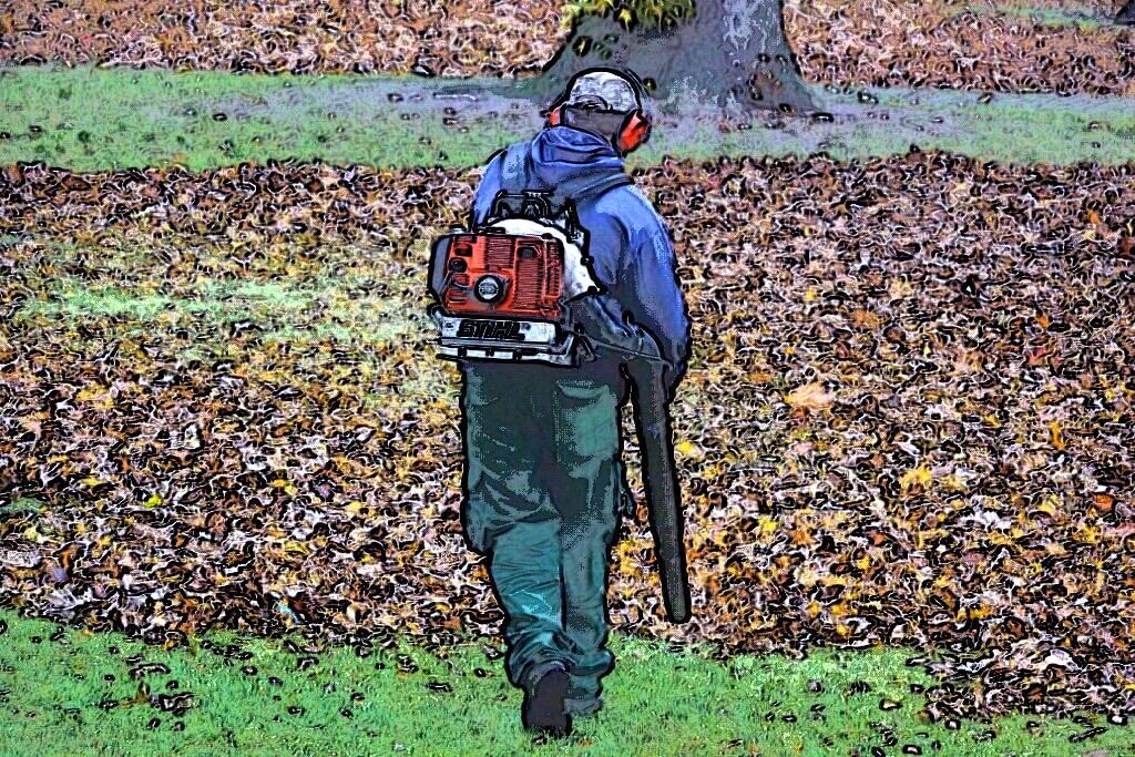 Ein Arbeiter mit einem Laubgebläse