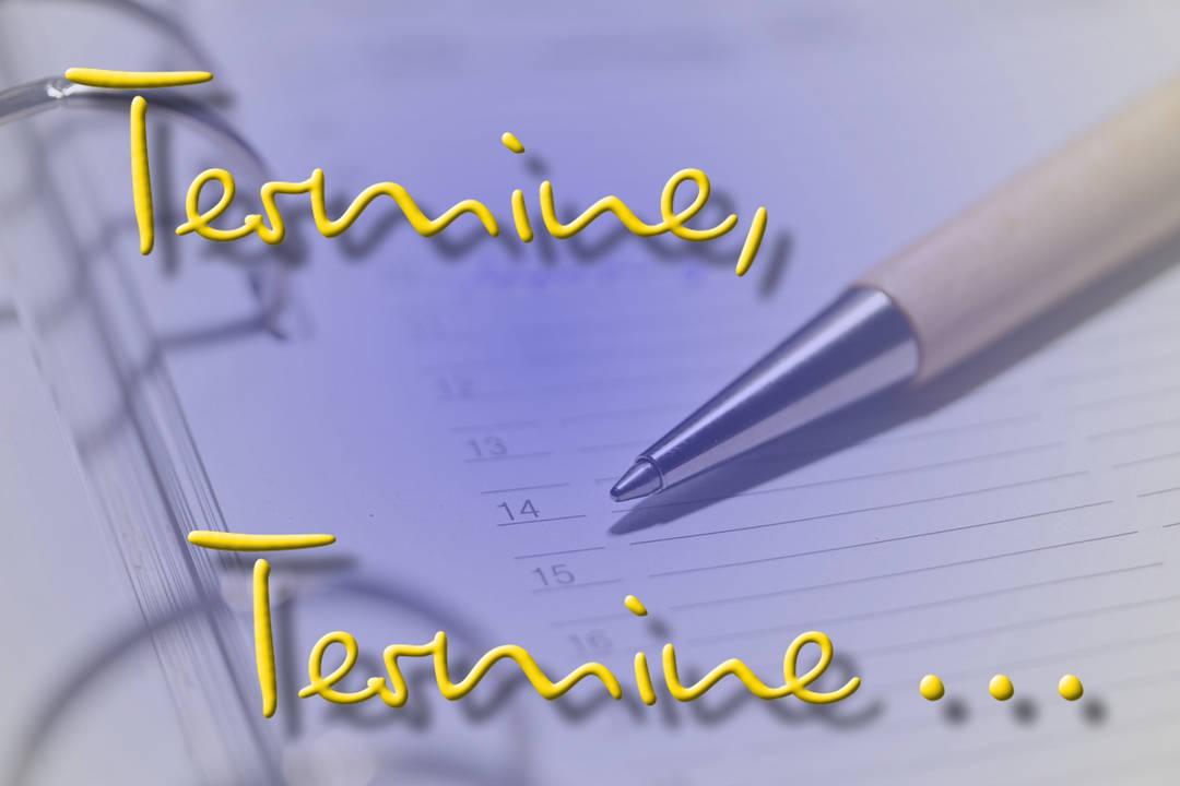 Eine Kugelschreiber liegt auf einem Kalender