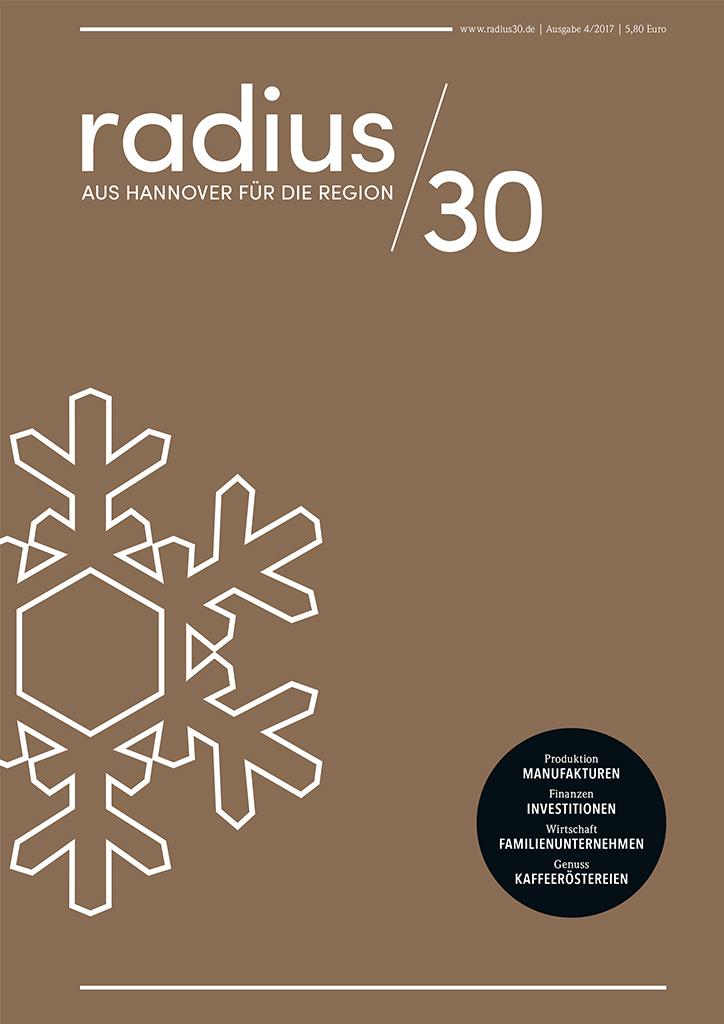 """Titelblatt der Winterausgabe 4/2017 des Magazins """"radius/30"""""""