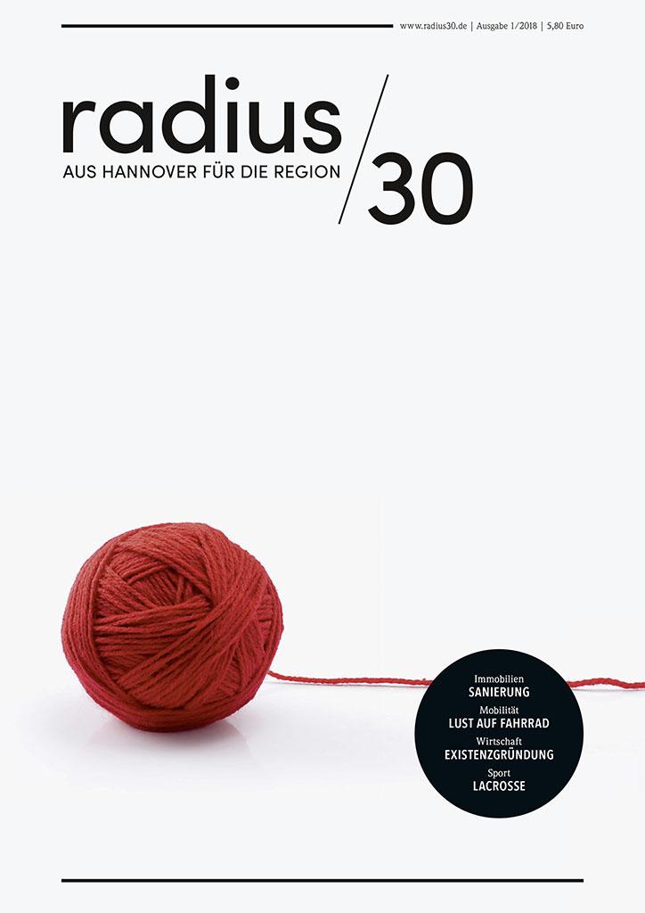 """Titelblatt der Ausgabe 1/2018 des Magazins """"radius/30"""""""