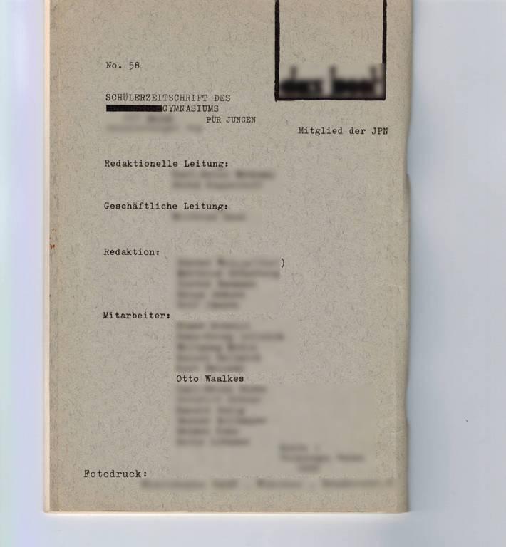 """Innencover mit Impressum einer Ausgabe der Schülerzeitung """"das boot"""" von 1966"""