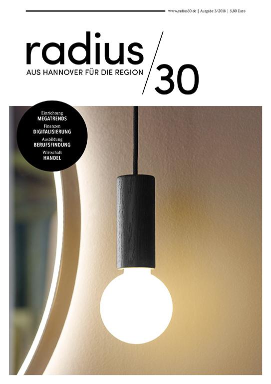 """Titelblatt der Ausgabe 3/2018 des Magazins """"radius/30"""""""