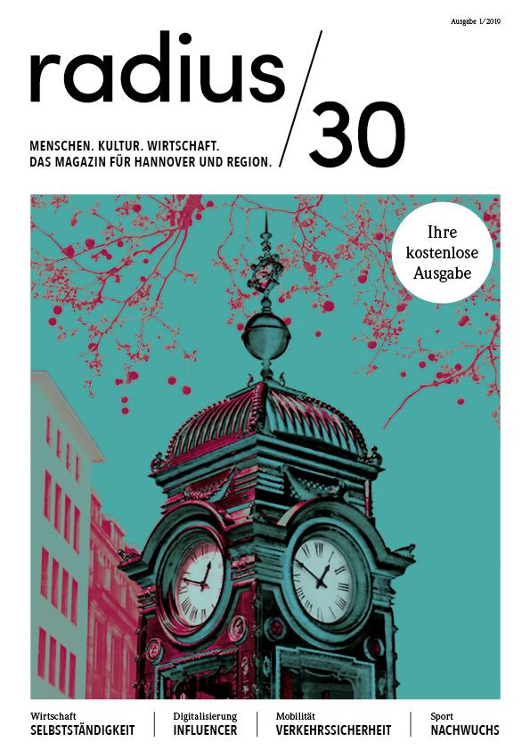 """Titelblatt der Ausgabe 1/2019 des Magazins """"radius/30"""""""